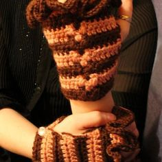 Fingerless gloves, Steampunk, brown and pink