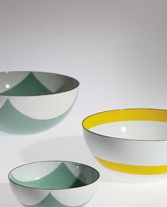 Grete Prytz Kittelsen; Enameled Metal 'Cathrine' Bowls, 1958.