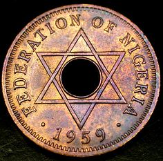 1959 FEDERATION of NIGERIA PQ PURPLE TONED Halfpenny A RARE Coin in Nice Shape!