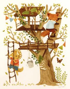 The Treehouse (Back Cover), Teagan White – Top Of The World Forest Illustration, Children's Book Illustration, Baby Room Art, Illustrations And Posters, Whimsical Art, Cute Art, Art For Kids, Character Design, Artwork
