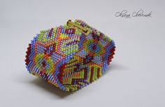 Oriental colorful bracelet beaded cuff Ethnic jewelry by MatthiolaBeads on Etsy