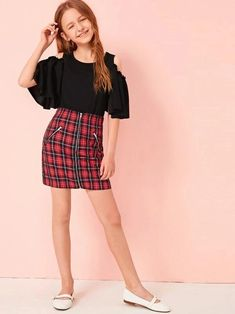 Girls Cold Shoulder Top & Zip Up Plaid Skirt Set – Kidenhouse Preteen Girls Fashion, Girls Fashion Clothes, Teenage Girl Outfits, Teen Fashion Outfits, Kids Outfits Girls, Girl Fashion, Clothes For Kids Girls, Cute Casual Outfits, Cute Girl Outfits