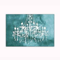 Teal Chandelier Digital Art Printed on Ready to Hang Framed Stretched Canvas