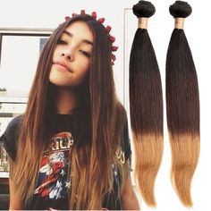 """2015 New Ombre Hair 1B/4/28# Brazilian Human Hair Extension12""""-30"""" Straight Hot #wigiss #HairExtension"""