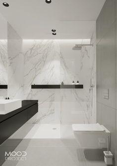 Łazienka minimalistyczna z calacattą  w prysznicu/ bathroom- moodproject.pl