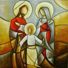 Beautiful art by Aurea Seganfredo, Brazilian artist Catholic Art, Religious Art, Jesus Art, Mary And Jesus, Holy Family, Sacred Art, Native Art, Christian Art, Stained Glass