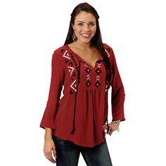 Ladies woven crepe peasant blouse by Roper®.  #ladies #woven #crepe #peasant #blouse #spring2017 #aztec #fashion #womensfashion #westernfashion #westernbootsales #pungoridge