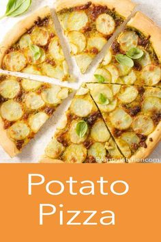 An incredible Potato Pizza made with basil pesto, thinly sliced potatoes, and mozzarella cheese. This Italian pizza recipe from Preppy Kitchen is super delicious and sure to be your new favorite next pizza night! #potatopizza #bestpizza #bestpotatopizza Best Dinner Recipes, Pizza Recipes, Dessert Recipes, Savoury Dishes, Savoury Recipes, Sliced Potatoes, Basil Pesto, Vegetarian Dinners, Other Recipes