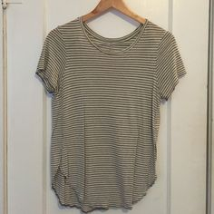 gray & white striped top soft gray & white tee with open sides Tresics Tops Tees - Short Sleeve