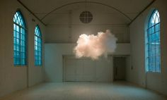 A gallery with no sculptures, only a cloud floating within the space. 'Nimbus' is a new installation of Amsterdam-based artist Berndnaut Smilde, who refuses to explain how he managed to create a real cloud.  A L L    H A I L    T H E    G L O W    C L O U D