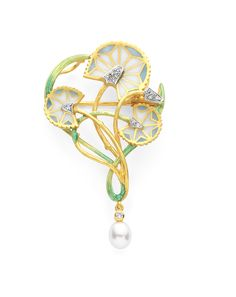 """Blown Away Flowers PB-752. 18 kt yellow gold pendant brooch with """"plique-à-jour"""" and """"basse taille"""" fired enamel, diamonds and a pearl.   #jewelry #artnouveau #enamel #barcelona"""
