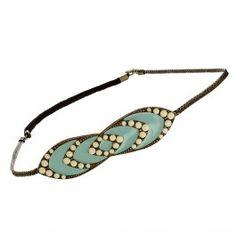 Headband Louxor (vert céladon et ivoire) - Bijoux Fantaisie Créateurs