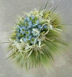 Love in the Mist is the featured flower in this unusual bouquet