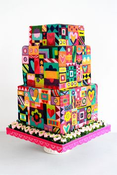 #CAKES | Queen of Hearts Couture Cakes | Multi Award Winning Masters of BUTTERCREAM Art! Patchwork Cake, Quilted Cake, Patterned Cake, Elegant Cakes, Unique Cakes, Pretty Cakes, Beautiful Cakes, Most Beautiful, Good Enough To Eat