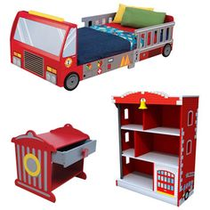 The Kidkraft Fire Truck Room Set is perfect for your fireman or firewoman in training! This fantastic set includes a Fire Truck Toddler Bed, Fire Truck Toddler Table, and a Firehouse Bookcase.