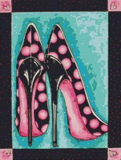 0 point de croix chaussures noires à pois roses - cross stitch black shoes with pink polka dots