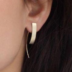 gold earrings - minimalist earrings - solid gold post earrings - long rectangle studs - gold earrings minimalist earrings solid gold by SigalGerson - Tiny Stud Earrings, Crystal Earrings, Silver Earrings, Diamond Earrings, 14k Earrings, Amber Earrings, Drop Earrings, Chandelier Earrings, Statement Earrings