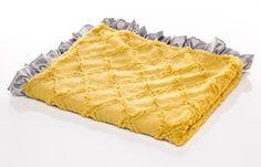 Soft Mustard Antique Embossed Lattice with Silver Satin Ruffle Original Mimi Minky Receiving Blanket - Baby Boy Blanket - Baby Girl Blanket - Gender Neutral. USA MADE by Elonka Nichole $65.00 www.elonkanichole.com