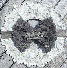 Gray Rosette Rhinestone Crown Bow Headband by AshlynRoseBows