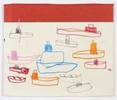 """regatta 53/4"""" x 63/4"""" ink, resin stick, graphite, china marker on book cover 3.2013  W. Tucker"""