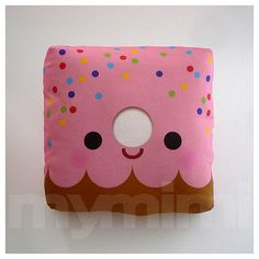 Decorative Pillow, Mini Pillow, Kawaii Print, Toy Pillow - Yummy Pink Donut