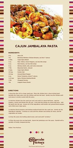 Cheesecake Factory Cajun Jambalaya Pasta Recipe.