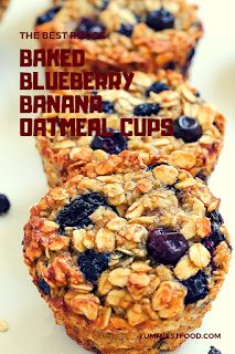 The best recipe Baked Blueberry Banana Oatmeal Cups Easy Appetizer Recipes, Vegan Dessert Recipes, Baking Recipes, Vegetarian Recipes, Banana Breakfast Recipes, Banana Bread Recipes, Tasty Snacks, Fruit Snacks, Find Recipe