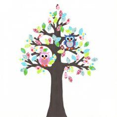 Vrolijke Behangboom met uiltjes. Leuk voor de kinderkamer! Kijk voor deze of andere figuren of andere kleursamenstellingen op www.vlindertjevrolijk.nl