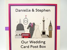 London themed wedding card post box, featuring St. Pauls, Nelsons Column, Big Ben and a Red London Bus. Handmade to order.