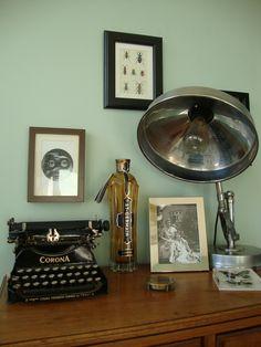 Our Eclectic Flea Market vintage deco living room. Farrow and ball Teresa's green, Fornasetti, Corona, industial light