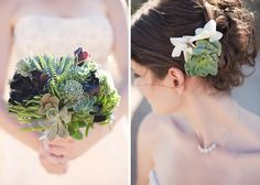 succulent bouquet + hair