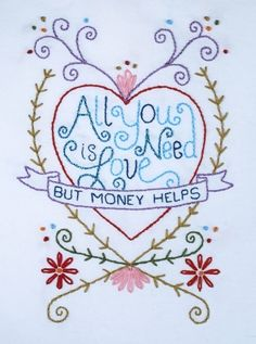 All You Need Is Love Embroidery Pattern by GinaMatarazzo on Etsy, $3.50