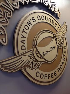Laser cut and engraved MDF sign for Coffee Shop Laser Cutting Service, Engraving Services, Laser Cut Wood, Coffee Shop, Custom Design, Shapes, Gourmet, Coffee Shops, Loft Cafe