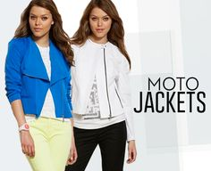 Moto jackets. Blue & white.