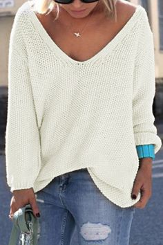 31b0084729d5 Who doesn  love a classic jumper! The top features a loose oversized shape  and plunge. Style it with a casual singlet and skinny jeans for a cute  casual ...