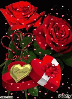 Corazones y rosas rojas Beautiful Love Pictures, Beautiful Gif, Love Images, Beautiful Roses, Flowers Gif, Love Flowers, Hearts And Roses, Red Roses, Red Hearts