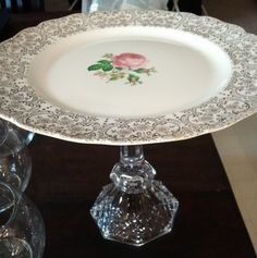 Handmade vintage cake stand Vintage Cake Stands, Vintage Cakes, Chabby Chic, Cake Stuff, Jewelry Stand, Center Pieces, Repurposed, Mothers, Cupcakes