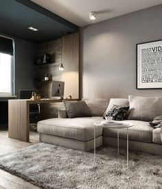 23 Amazing Modern Living Room Design Ideas in 2020 Home Room Design, Home Office Design, House Design, Modern Apartment Design, Study Room Design, Condo Design, Modern Bedroom Design, Living Room Modern, Home Living Room