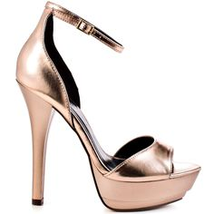 Get caught up in the curves of Georgette.  Just Fabulous introduces a metallic rose gold sheen covering the entire silhouette.  The attention will be shifted towards you, the sexy ankle strap, 1 1/2 inch platform and 5 inch stiletto heel.