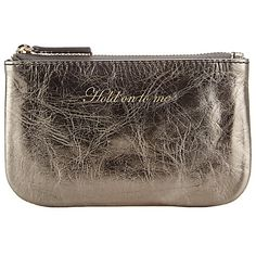 Buy John Lewis Hayley Leather Slogan Coin Purse, 'Hold On To Me,' Gunmetal Online at johnlewis.com