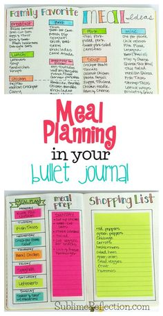 Come see how I use my Bullet Journal to make meal planning even easier! I'm also sharing my other favorite free meal planning tool and app! via /kimberlyjob/ # Fitness journal How I use my Bullet Journal for Meal Planning - Sublime Reflection