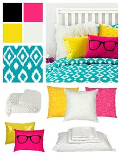 Love the pops of pink and yellow in this California Girl Collection from Dormify!