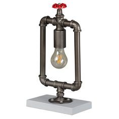 Pipe Lamp Industrial for dark eating dining table corners, red tap hydrant made from silver Industrial vintage design for a pubs and hotels Industrial Table, Vintage Industrial, Dining Table, Table Lamp, Fire Hose, Toilet Roll Holder, Pipe Lamp, Cool Lighting, New Room