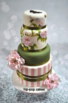 Handpainted Peony Rose by Hip-pop cakes - http://cakesdecor.com/cakes/255195-handpainted-peony-rose