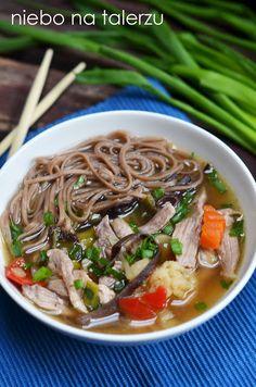 zupa zgrzybami mun Japchae, Ramen, Diet Recipes, Cooking, Healthy, Ethnic Recipes, Food, Drinks, Ideas