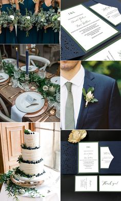 wedding colors navy blue and green wedding color ideas with matched laser cut wedding invitations Olive Green Weddings, Olive Wedding, Sage Green Wedding, Orange Weddings, Rustic Wedding, Green Wedding Invitations, Wedding Themes, Wedding Decorations, Wedding Programs