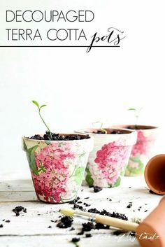 Terra cotta pots decorated with fabric. http://placeofmytaste.com/decoupaged-terra-cotta-pots/