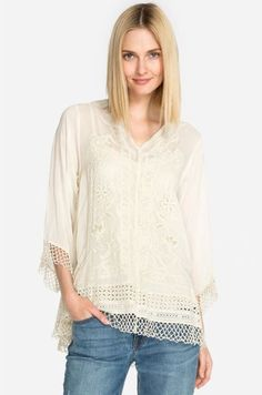 TWO by Vince Camuto Drop Shoulder Tiered Ruffle Sleeve Top Women's Clothing Ultra White Ruffle Sleeve, Ruffle Blouse, Oversized Sweater Outfit, Living Dolls, Petite Women, Petite Fashion, Sweater Shirt, Printed Blouse, Ladies Dress Design