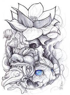 zumi: tattoo sketchbook: 013 by fydbac on DeviantArt Tatoo Art, Body Art Tattoos, New Tattoos, Sleeve Tattoos, Japanese Tattoo Designs, Japanese Tattoo Art, Japanese Art, Tattoo Sketches, Tattoo Drawings