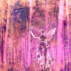 Tree People...10/11/15  Angel walking through the Vermont forest blessing the Tree People as she passes. Please share this image if you like it! Thank you...Rich Ray Art http://richrayart.com/